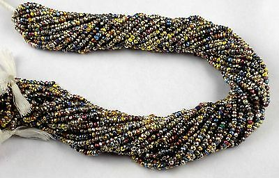 """5 Strand Natural Mix Multi Pyrite Faceted Rondelle Shape Beads 2.5-3mm 13"""" Long"""