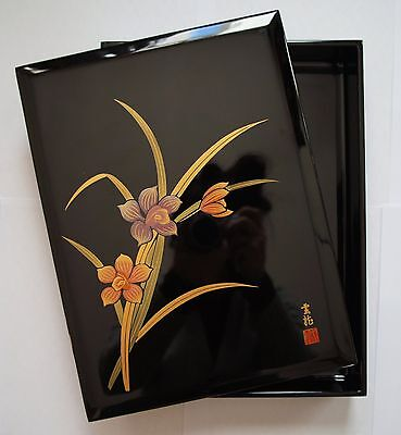 Authentic Japanese Wooden Lacquered Box - Orchid Motifs