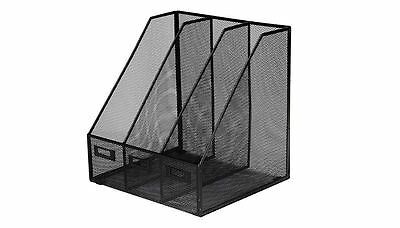 OSCO Mesh Triple Magazine Rack - Black, Paperwork, Home, Waiting Room, Reception