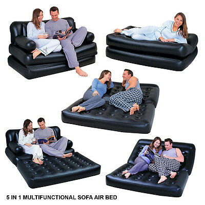 Multi-Function 5 In1 Inflatable Double Air Bed  Lounger Mattres Sofa Chair Couch