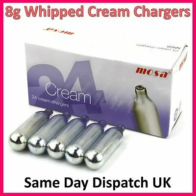 8g Whipped Cream Chargers Whipper NOS N2O Nitrous Oxide Canisters MOSA - 24 PCS