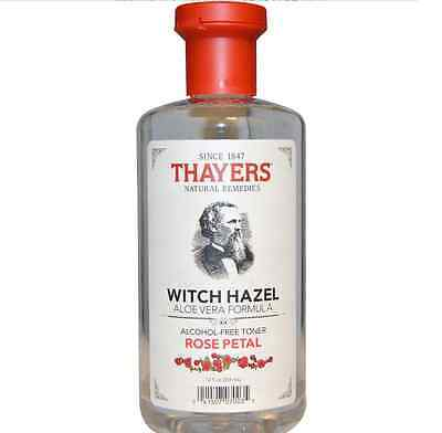 Rose Petal Witch Hazel,  Aloe Vera Formula, Alcohol-Free Toner, 355 ml - Thayers