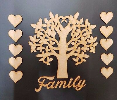 Family Tree Set MDF Wooden Laser Cut Craft Blank Shape Wedding Guestbook S225