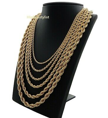 "Rope Chain Necklace 2.5mm to 10mm Width 20"" 22"" 24"" 26"" 30"" 14k Gold Plated"