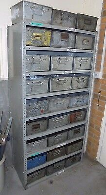 Used Steel Shelving Bay c/w 27 x Used Tote Pans