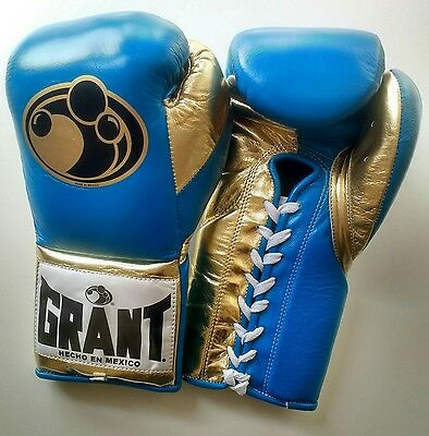 Grant Worldwide Custom Pro Fight Boxing Gloves 10oz in Turquoise/Metallic Gold