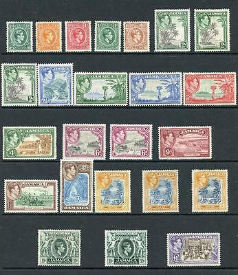 Jamaica 1938-52 set + all perfs/shades SG121/33a MM cat £210