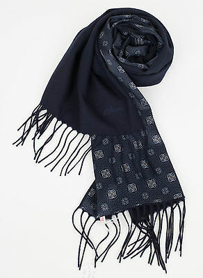 New In Box. BRIONI Men's Navy Blue Twill 100% Cashmere Double Face Scarf $1350