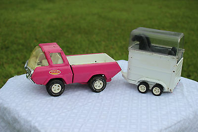Vintage Pink Tonka Stables Pressed Steel Pickup With Black Horses And Trailer