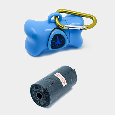 Blue Dog Poop Bag Dispenser with Biodegradable Bags, Attachable Clip & Holder