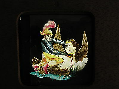 Antique Wooden Moving Mechanical Magic Lantern Slide View Hand Tinted Murder