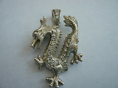 VERY HEAVY SUPERB  925 STERLING SILVER LARGE NECKLACE DRAGON PENDANT 20g