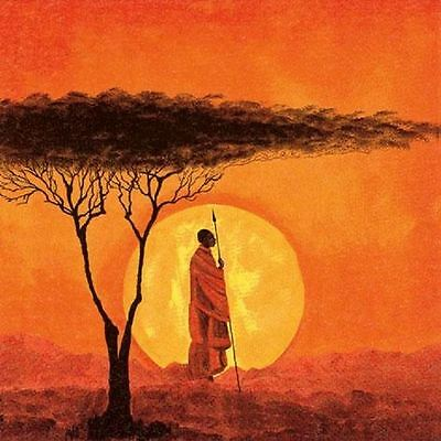 Pack of 4 Napkins - African Sunset - Great for Decoupage / Napkin Art- 16 612 47