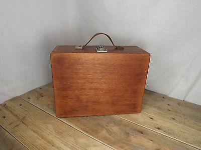 Vintage Wooden Suitcase With Cheney Latch and Leather Handle