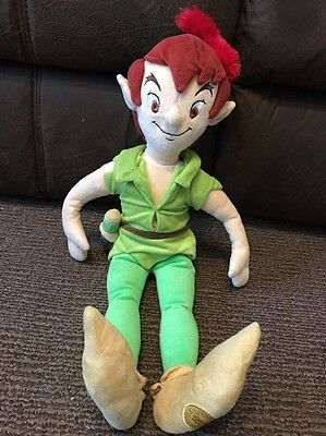 """Disney Store - Large 22"""" Peter Pan Soft Plush Toy - Excellent Cond Lovely"""