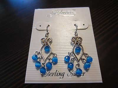 925 Sterling Silver Signed Sparkle Blue Stone Hook/Drop New or Not Earrings 3Gr