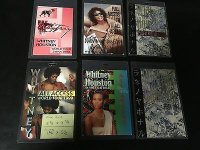 6 Whitney Houston ALL ACCESS 1991-1992 Laminated Backstage Pass group lot of 6