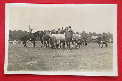 WW1 - Soldiers Exercising Horses In Front of Troops, RP PC Unused