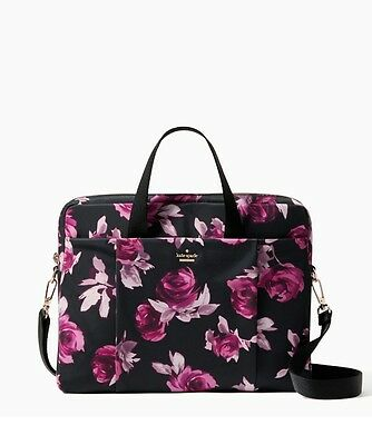 Kate Spade New York Classic Nylon Laptop Commuter Bag in Black Floral NWT 15""