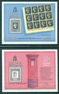 TURKS & CAICOS *1990* set 2 S/Sheets  *MNH** 150 years Stamps - Mi.No BL89-90
