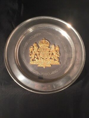 Pewter Plate Queen Mother 1980 80 Th Birthday Royal Memorabilia