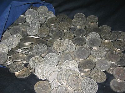 BULK LOT OF 100x CLEAN QUEEN ELIZABETH II TWO SHILLINGS 1954-1966 FREE UK POST!!