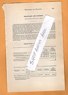 1906 original RR report DELAWARE AND EASTERN RAILROAD East Branch Arkville NY