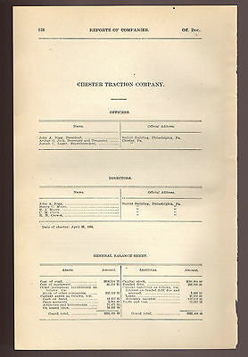 1900 Pennsylvania RR report CHESTER TRACTION COMPANY Chester PA trolley train