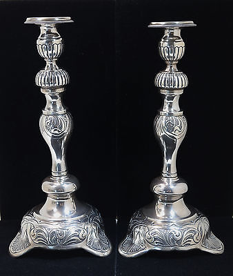 Continental Sterling Silver Pair of Repousse Tall Candlesticks 20th Century