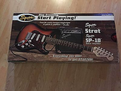 Squier Sunburst Strat Stop Dreaming Start Playing SE Special w/SP-10 Amp, New!