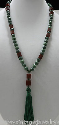 """27"""" Long Jade Bead and Cubed Carnelian Necklace with Fringed Tassel"""