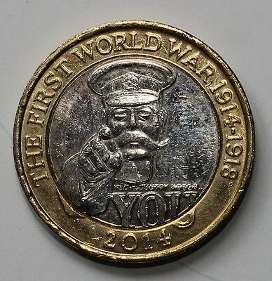 Lord Kitchener 1st world war 2014 UK £2 two pound coin, very RARE 4 mint errors