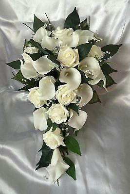 Wedding Flowers Ivory Calla Lily Rose Bride Shower Teardrop Bouquet Artificial