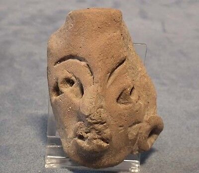Antique Pre-Columbian Terracotta Head Mask fragment Mayan 500 AD to 900 AD