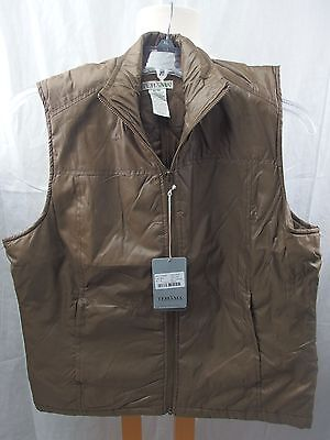 Tehama Golf Vest, Brown with Embroidery on back, Women M