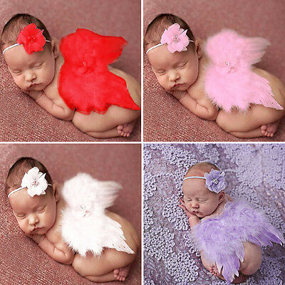 Newborn Baby Photography Prop Angel Feather Wings with Headband Set