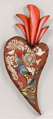 Mexican Wood Hanging Heart w Milagro Hand Made/Painted Folk Art Collectible #4