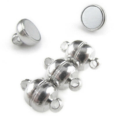 50 Magnetic Clasp Converters - Shiny Drum Style - Shiny Silver Color - Jewelry