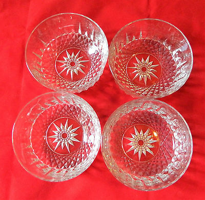 "Arcoroc USA Clear DIAMANT Set of 4 Salad Dessert Bowls 5"" Diameter"