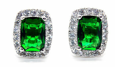 Sterling Silver Emerald And Diamond 4.76ct Emerald Cut Earring (925)