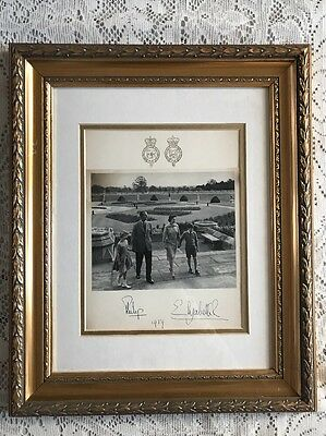 Queen Elizabeth II & Prince Philip Signed Christmas Card Framed 1959