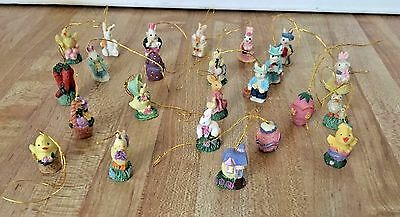 Lot of 24 Vintage Miniature Resin Easter Tree Ornaments Bunny Rabbit Egg Chick