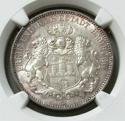 1914 J Silver Germany 3 Mark Hamburg Coin Ngc Mint State 62