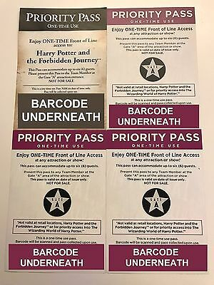 4 Universal Studios Hollywood Front Of The Line Priority Passes Harry Potter