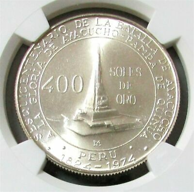1976 Silver Peru 400 Soles Battle Of Ayacucho Coin Ngc Mint State 65