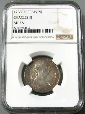 1788 S C Spain 2 Reales Charles Iii Coin Ngc About Uncirculated 55