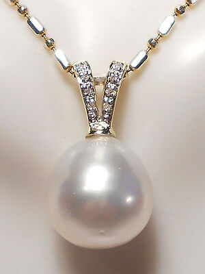 12.4mm South Sea white pearl pendant, diamonds, solid 14k yellow gold.