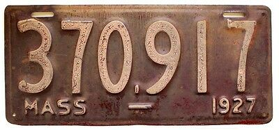 Massachusetts 1927 License Plate, Old New England, Antique, Garage Wall Sign
