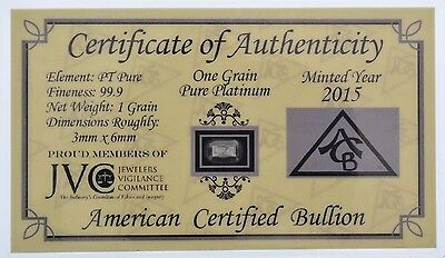 ACB Platinum SOLID BULLION MINTED 1GRAIN PT BAR 99.9 Pure w/ certificate