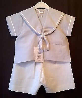 linen blend sailor suit blue and ivory christenings Easter holidays 12-18m, 24m